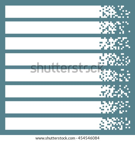 Set of white pixel banners for headers. Vector banners ready for your text or design