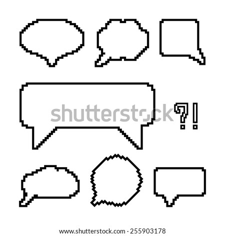 set of white pixel outline speech bubbles. concept of web communion, 8 bit game, onomatopoeia, video-game, marks. isolated on white background. pixelart style trendy modern design vector illustration - stock vector