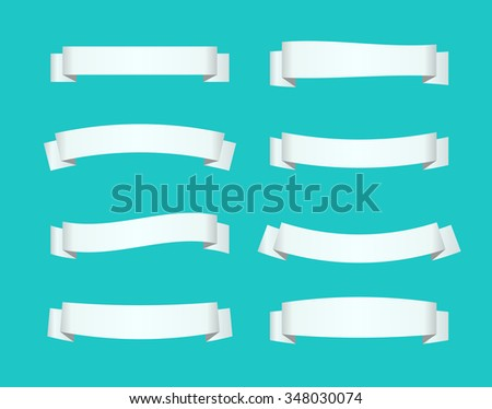 Set of white ribbon banners. Vector illustration. - stock vector