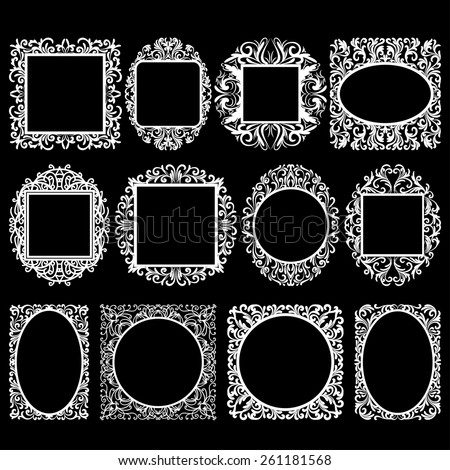 set of white round and square vintage frames, design elements on black background - stock vector