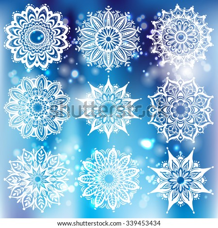 Set of white round ornament with pattern brush - stock vector