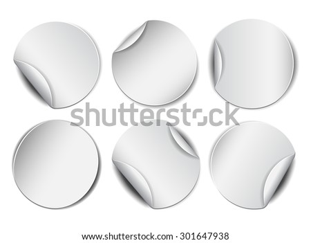 Set of white round promotional stickers.  Vector illustration - stock vector