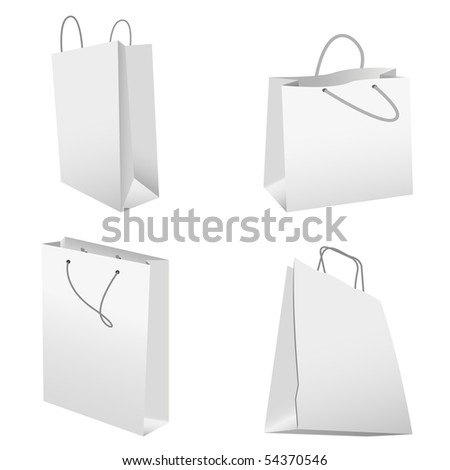 set of white shopping bags. vector illustration