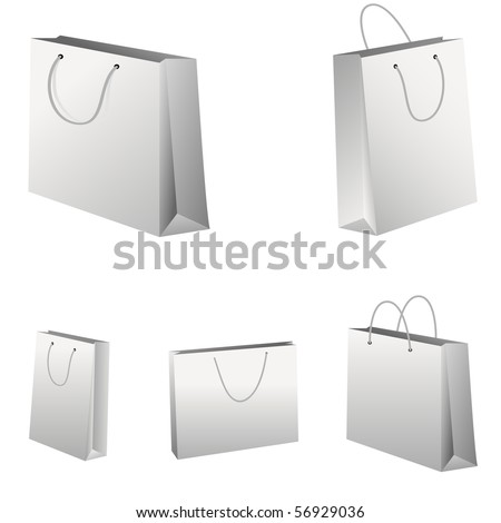Set of white shopping bags. Vector illustration.