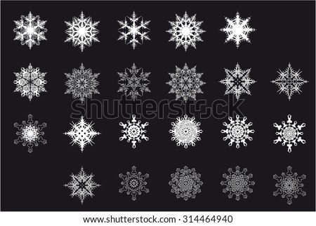 set of white snowflakes on a black background - stock vector