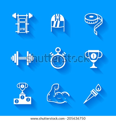 Set of white sports icons. Vector sport equipment in flat style with shadows.  - stock vector