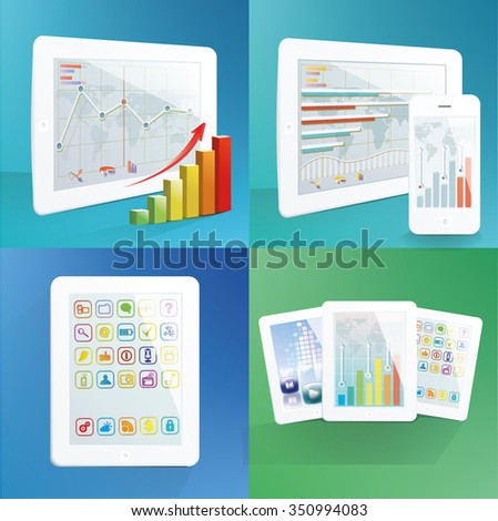 Set of white tablet computers. with applications on screens. Vector illustration.