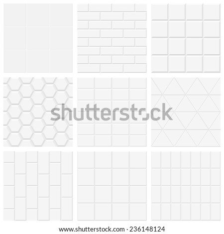 Set of white tiled texture, vector backgrounds (no gradient, no transparency) - stock vector