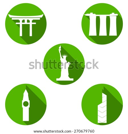 Set of white travel icons made in vector. Modern flat symbols of famous sightseeings including Big Ben, Statue of Liberty, Marina Bay Sands, Japan Arch and Bank of China Tower - stock vector