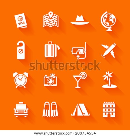 Set of white travel icons. Vector travel icons in flat simple style.  - stock vector