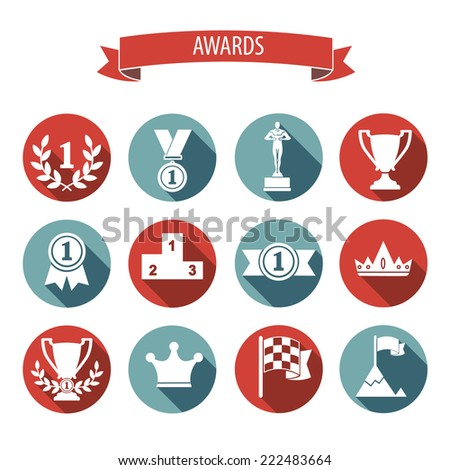 set of white vector award success and victory flat icons on colorful round web buttons with trophies cups ribbons crown diadem medals medallions wreath and a podium - stock vector
