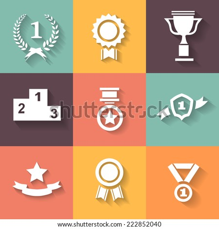 Set of white vector award  success and victory icons with trophies  stars  cups  ribbons  rosettes  medals medallions  wreath  - stock vector