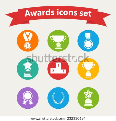 Set of white vector award success and victory icons with trophies stars cups ribbons rosettes medals medallions wreath and a podium on a color circle in flat style - stock vector