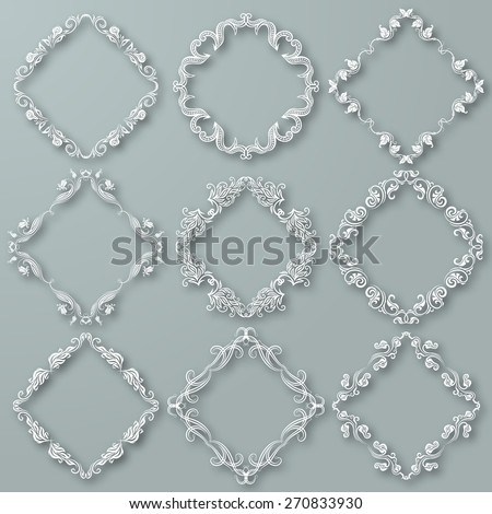 Set of white vector floral frames with shadows on the gray background for design of invitation, greeting, gift card. Page decoration in vintage style. Vector illustration EPS 10. - stock vector
