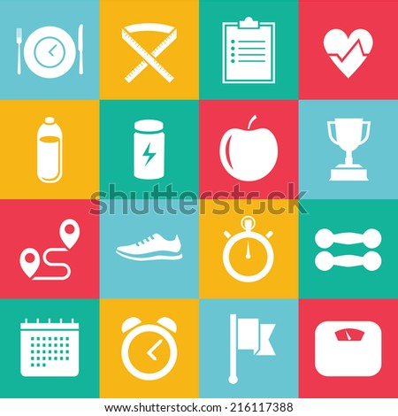 Set of white vector icons colored foursquare for sport, dieting, weight loss, fitness, healthy lifestyle  - stock vector