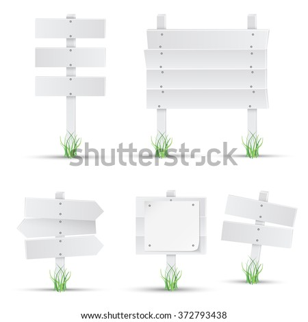 Set of white wooden signs with grass. Vector.  - stock vector