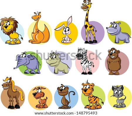 Set of wild and domestic animals - vector