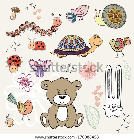 set of wild animals and insect. Hand drawn illustration - stock vector