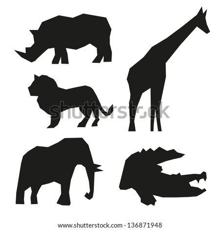 Set of wild animals  isolated on a white backgrounds - stock vector