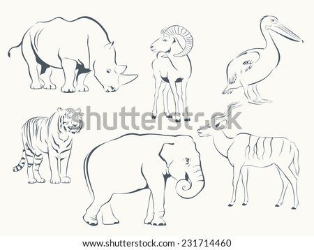 Set of Wild Animals - Pelican, Antelope, Mouflon, Rhinoceros, Elephant, Tiger - stock vector