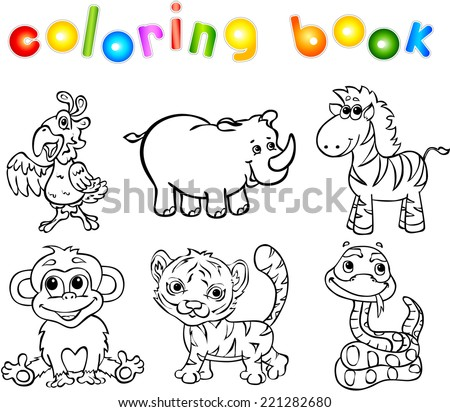 Set Of Wild Animals Second Coloring Book For Children