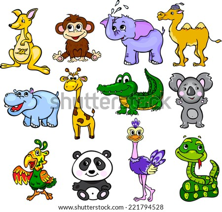 Set of wild animals third for children - stock vector