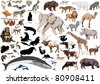 set of wild mammals isolated on white background - stock vector