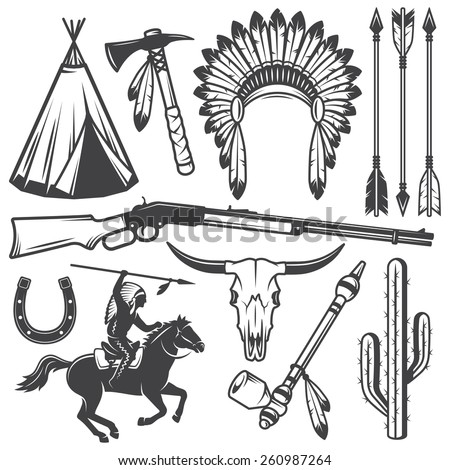 Set of wild west american indian designed elements. Monochrome style - stock vector