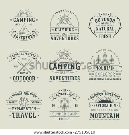 set of wilderness and nature exploration vintage emblems - stock vector