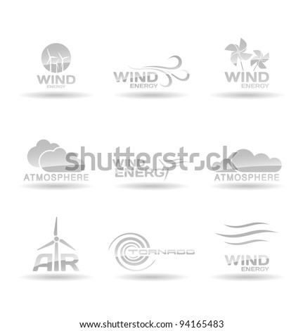 Set of wind energy icons. - stock vector