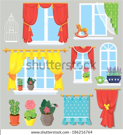 Set of windows, curtains and flowers in pots. Elements for interior design. - stock vector