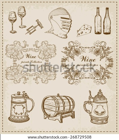 set of wine - stock vector