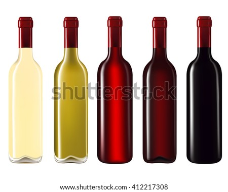 Set of wine bottles isolated on white background,Vector illustration - stock vector