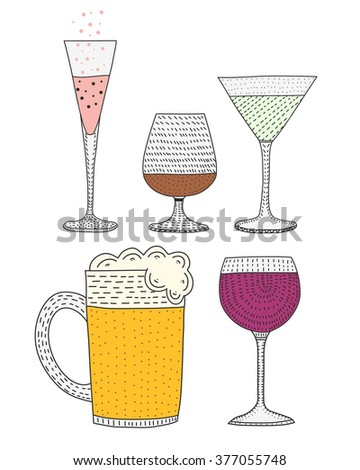 set of wine, brandy , martini , champagne , beer. Glasses . Alcoholic beverages. a set of alcoholic beverages in a glass.Vector Set of Cartoon Cocktails and Alcohol Drinks.