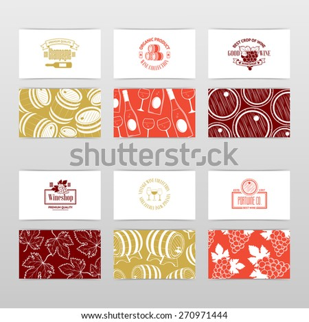 Set of wine business cards. Templates for wine company. Vintage vector illustration for your design - stock vector