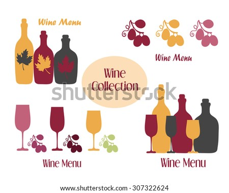 Set of wine icons for wine shops and restaurant menu. Vector Illustration - stock vector