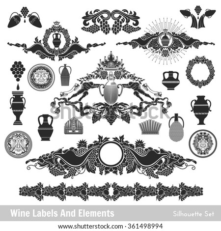 set of wine labels and elements. Isolated black on white - stock vector