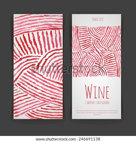 Set of wine labels. Artistic watercolor background - stock vector