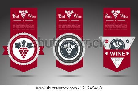 Set of wine labels. Vector - stock vector
