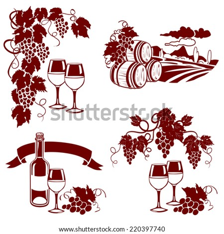 set of wine logos, imprint. vector illustration - stock vector