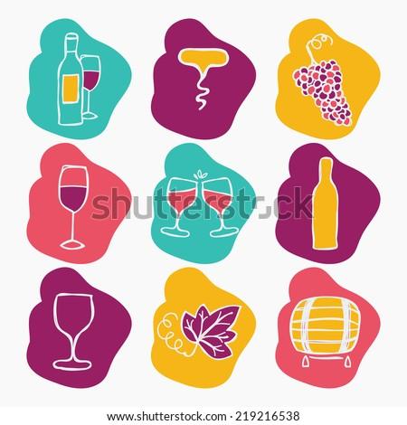 Set of wine making icons, vector illustration. Bottle, corkscrew,grape ripe, glass of wine, grape leaf, stain. - stock vector