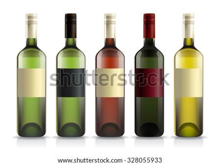Set Wine Liquor Bottles Labels Template Stock Vector - Liquor bottle labels template