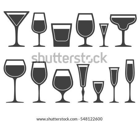 Set of wineglass and glass different shapes icons with poured liquid inside isolated on white background