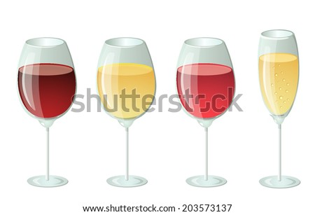 Set of wines - red, white, pink and champagne. Vector design illustration, isolated on a white background