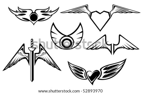 Set of wing symbols isolated on white or logo template. Jpeg version also available in gallery - stock vector