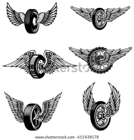 Wheel Logo Stock Images RoyaltyFree Images  Vectors Shutterstock - Car sign with wings