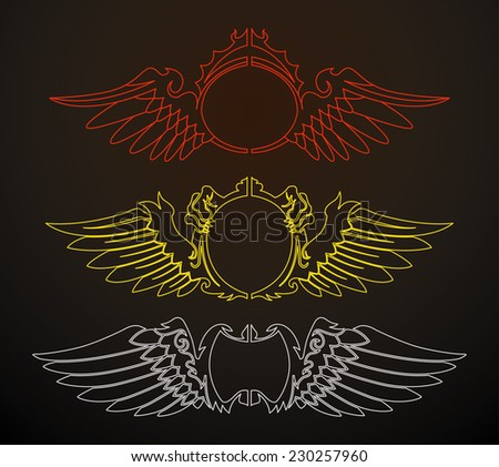set of winged line badge isolated - stock vector