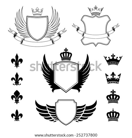 Set of winged shields - coat of arms - heraldic emblems, design elements, fleur de lis signs and royal crown silhouettes - stock vector