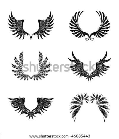 Set of Wings, vector - stock vector