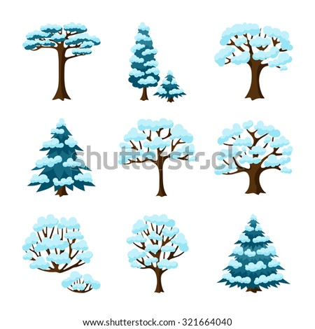 Set of winter abstract stylized trees. Natural illustration. - stock vector